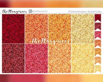 Glitter Headers - Reds & Golds - 56 Headers
