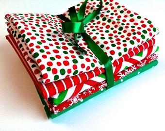 Christmas Fat Quarter Bundle, 5 Pieces by 8th Day Encore