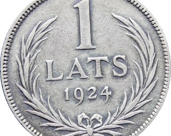 1924 Latvia One Lats Silver Coin