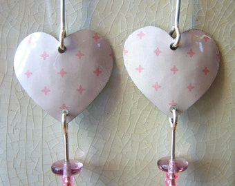 Recycled Tin Heart Valentine Earrings...Pink heart tin earrings with glass bead drop and sterling silver ear wires