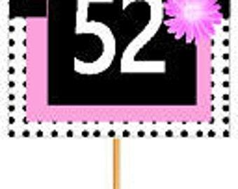 Happy 52nd Birthday Pink w. Black Polka Dot Novelty Cupcake Decoration Topper Picks -12ct