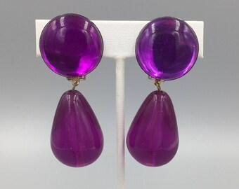 Mod Purple Lucite Dangle Earrings, Vintage 1980s, Mod Statement Earrings, Teardrop Dangles Clip On Earrings