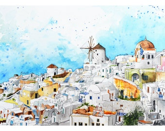 Town in Santorini, Greece Europe, Watercolor Painting, Wall Art, Home Decor, Giclee Print