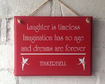 Tinkerbell quoted wooden sign, Great for your childrens bedroom, Birthday gift for a little girl. Peterpan fan, Gift for a friend