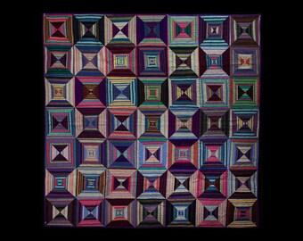 Throw Quilt, Handmade Quilt, Lap Quilt, Hand Dyed Quilt, Star Quilt, Baby Quilt, Quilt Art, Quilt Wall Hanging, Fiber Art, Wall Quilt