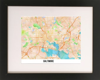 Baltimore/Watercolor Map/Graphic Art/Digital Download/Art Print/True North/Travel/Adventure/Charm City
