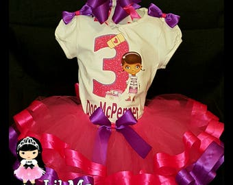 Doc mcstuffin Birthday ribbon tutu outfit, doc mcstuffin tutu, doc mcstuffin tutu outfit, doc mcstuffin birthday tutu, doc mcstuffin dress
