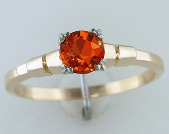 Vintage Antique .60ct Orange Sapphire Diamond 14K Gold Art Deco Engagement Ring