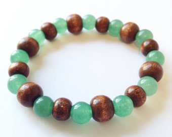 Green and Brown Glass Beaded Bracelet