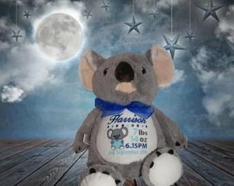 Koala Bear, personalised toy, plush toy, baby toy, christmas, birthday, baby shower, soft toy, wedding, kids, baby, boyfriend, mum, dad