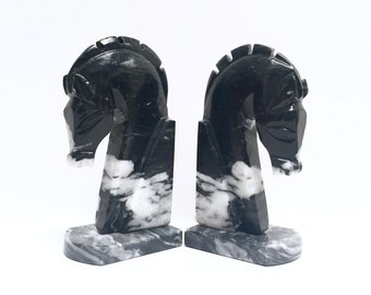 Black marble horse head bookends | vintage horse bookends | mid century decor | natural stone | gray marble | Trojan horse | Greek