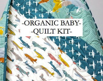 Organic Baby Quilt Kit, Baby Boy Airplanes, Modern Nursery, Quilting,  Sewing DIY Project, Birch Trans-Pacific Fabrics, Teal, Kids Room