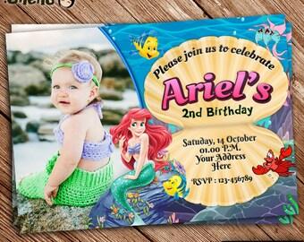 On SALE The Little Mermaid Birthday Invitation Printable - Ariel Disney Mermaid Princess - Mermaid Theme - Printable - Personalized