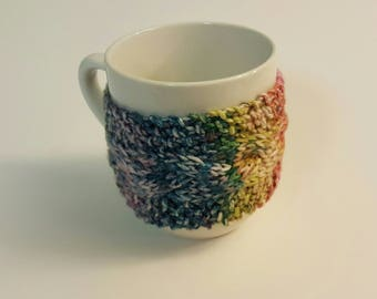 Mug Cozy Cable Knit  • Coffee Cup Cozy • Coffee Sleeve • Cup Holder • Tea Cup Cozy!  Rainbow Ombre w/ Swirl Button! Ready 2 Ship!