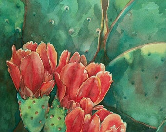 Red Cactus Flower Art Print/ Southwest Desert Limited Edition Giclee