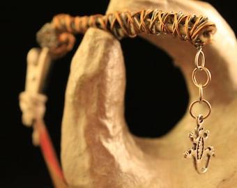 Dread Clip Smoking Clip OOAK Rusty Bones Skeleton Bones Gecko Lizard Wire Wrap Hair Clip Roach
