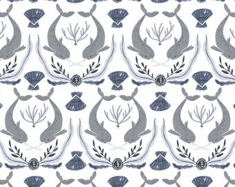 Last 3/4 Yard - Narwhal Fabric - Into the Reef by Rae Ritchie for Dear Stella- Narwhal Damask in White - Fabric By The Half Yard