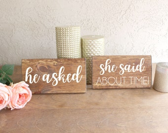 Engagement Photos Prop - He Asked She Said About Time - Engagement Sign - Engagement Photos Signs - Engagement Sign for Photos - Photo Prop