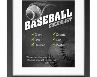 "BASEBALL Sports Gear Checklist for Kids - 8""x10"" Art for Digital Download (PDF) - Reminder/Routine"