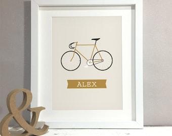 Fixie Bike Personalised Print, Fixed Gear Bike Art, Custom Bicycle Print, Bicycle Wall Art, Cycling Bike Gift, Gift for Cyclist (unframed)