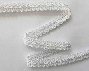 """French Gimp -  1/2"""" White Flat Trim - Renaissance Faire - Victorian"""