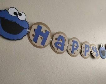 Cookie Monster banner, Sesame Street banner, Cookie Monster theme party, Cookie Monster party, birthday banner,