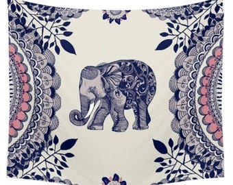 Elephant Mandala Tapestry Fabric Material Cover Wall Art Cotton Shabby Chic Indian Yoga