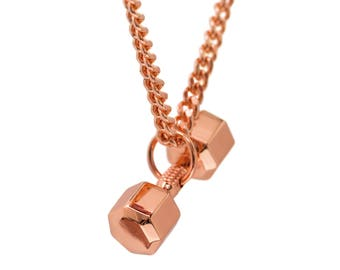 Rose Gold DUMBBELL necklace 7 sides fitness jewelry fitness charm fitness Pendant gym jewelry weightlifting charm crossfit workout jewelry