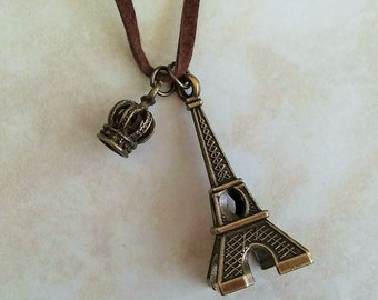 SALE ~ Eiffel Tower Crown Charm Faux Suede Necklace 32 Inches