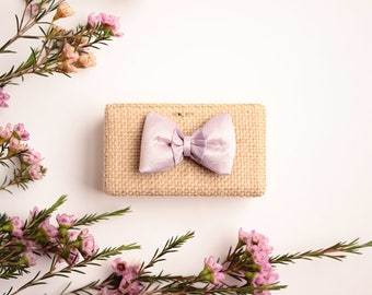 Ring pillow in Burlap, Parma violet silk bow.