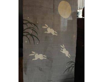 """traditional linen noren, door way curtain. running rabbits under the moon (WE05-202) 35""""W x 59""""L"""