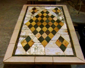 Table cm 160 x cm 84 made with antique recovery marbles