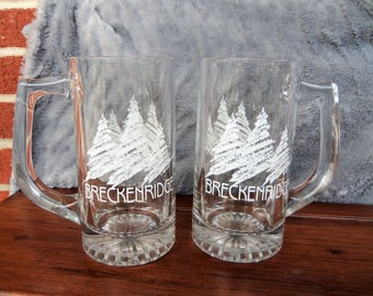 "Vintage Breckenridge/Colorado Glass Beer Mugs/Steins, ""Set of 2"",  Stands 5 3/4"" Tall"