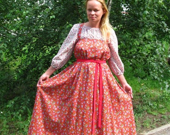 "Russian traditional kosoklinny sarafan (sundress) ""Roses"""