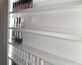 Nail polish rack display frame plain gloss white with LED lighting 115x75cms