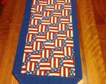 American Flag Reversible Table Runner ~ FREE SHIPPING !!