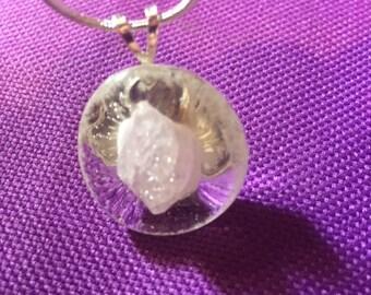 Clear Glass Pendant with Quartz