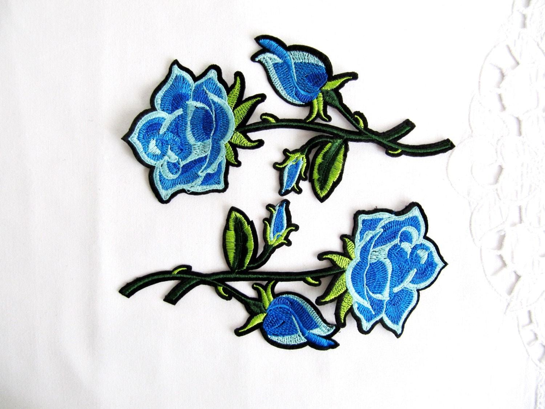 Iron on sarsina patch pcs blue ross applique flower