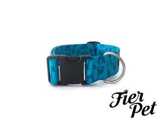 "Designer dog collar,1.5"" collar, turquoise, fierpet,giraffe, collar,adjustable collar,fier-pet"