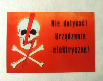 Skull and Crossbones, Industrial Metal Aluminium Sheet Sign Electrical Devices Warning, Danger High Voltage Sign, Collectibles