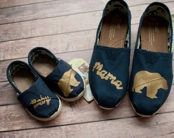 Mama Bear and Baby Bear Set of hand painted TOMS