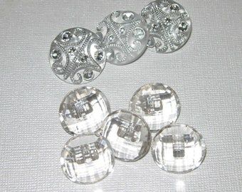 "Buttons, Crystal, Clear, Faceted, Shank, 2 Sets, 3/4"" And 7/8"""