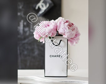 pink peonies in a bag print