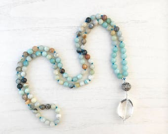 Amazonite 108 Mala Beads / Mala Necklace/ Knotted Yoga Necklace / Gifts for him / Gifts for her / Prayer Beads / 108 Beads / Japa Mala