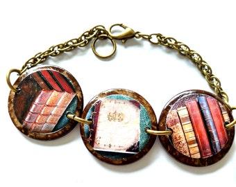 BOOK BRACELET, book lovers bracelet, librarian bracelet, bookish jewelry, reader bracelets, library jewelry, book jewelry, vintage books