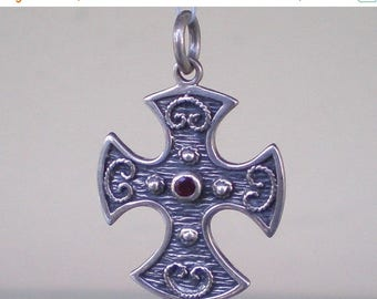 For Sale Double Sided Byzantine Silver Cross With Ruby & Emerald - High Quality Item