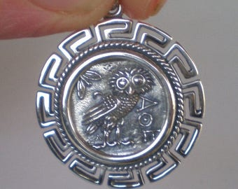For Sale Owl Of Wisdom Coin Pendant with Meander Design - Athena - High Quality Item