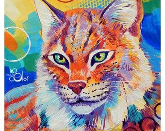 "Lynx - Original colorful traditional acrylic painting on paper 8.5""x11"""