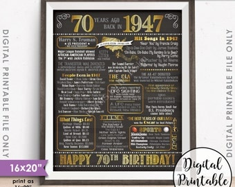 "70th Birthday Gift 1947 Poster, 70 Years USA Flashback Instant Download 8x10/16x20"" Born in 1947 Birth 70th B-day Chalkboard Style Printable"