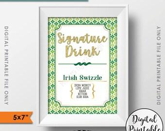 "Signature Drink Sign, St. Patrick's Day Signature Cocktail Sign, St. Patrick's Day Party Sign, Shamrock Menu, 5x7"" Digital Printable File"